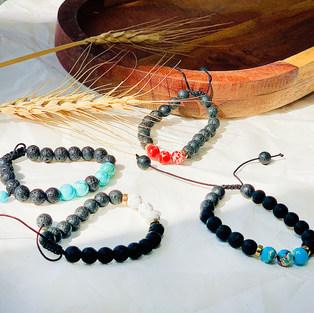 Gemstone and Lava Bracelet