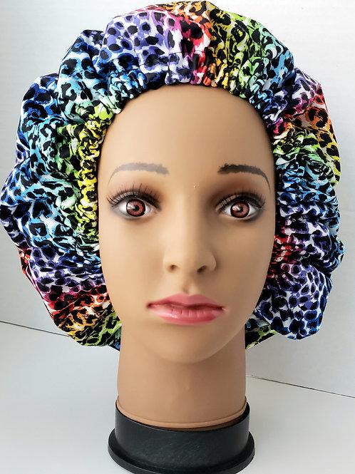 Rainbow Cheetah Shower Bonnet - Jumbo Adult extra large reusable Shower Cap