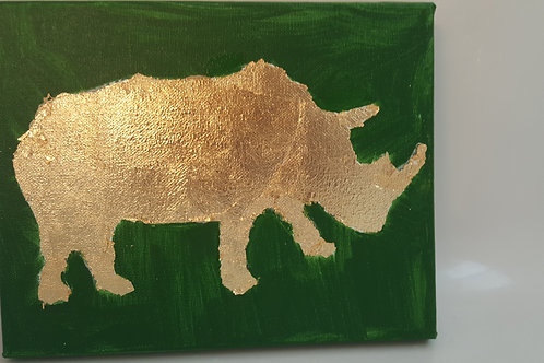 African nursery Jungle gold leaf animal - Rhino
