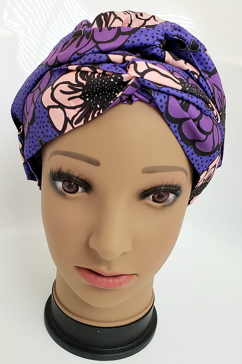 Lilac African Print Turban Bonnet Wrap - adult