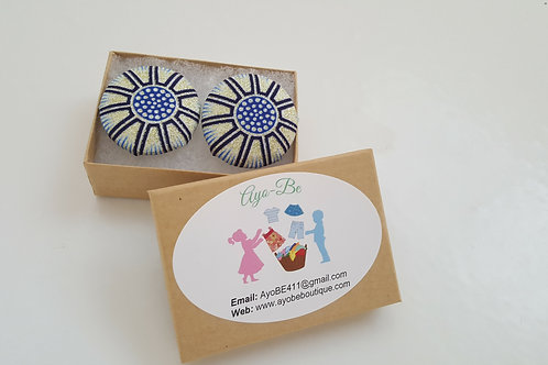 The Skye African Print Button Earrings