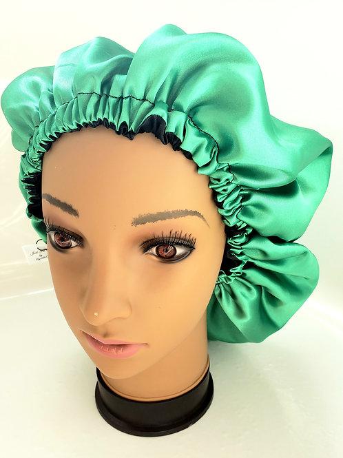 Adult green and black reversible satin bonnet