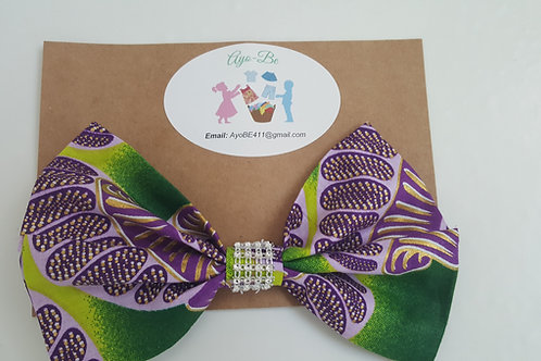 The Azure African Print Sparkly Hair Bow