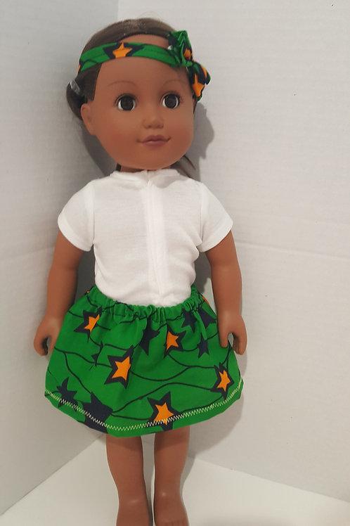 PAG Capella African Print Doll Skirt and matching headband