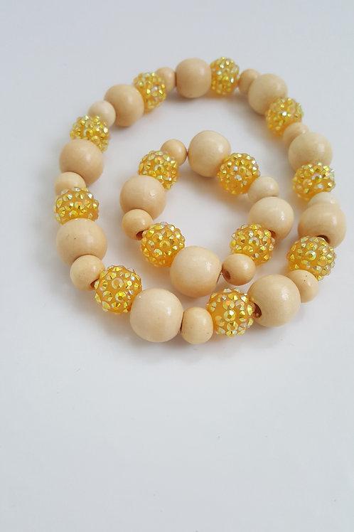 African Citrine and Cream Necklace Bracelet set