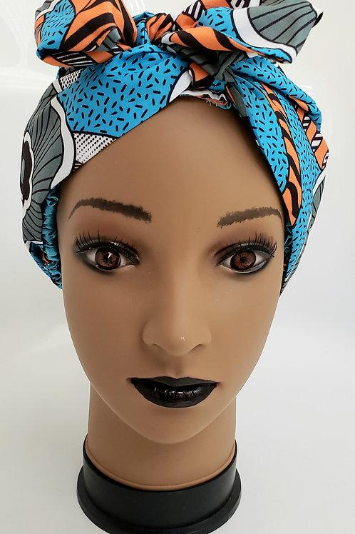 Melania African Print Turban Bonnet Wrap - adult