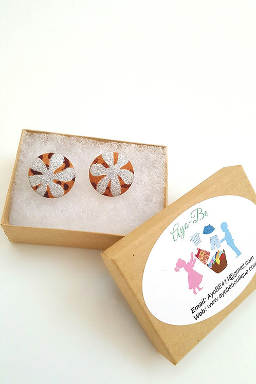 The Kion African Print Button Earrings