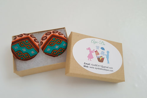 The Ariel African Print Button Earrings