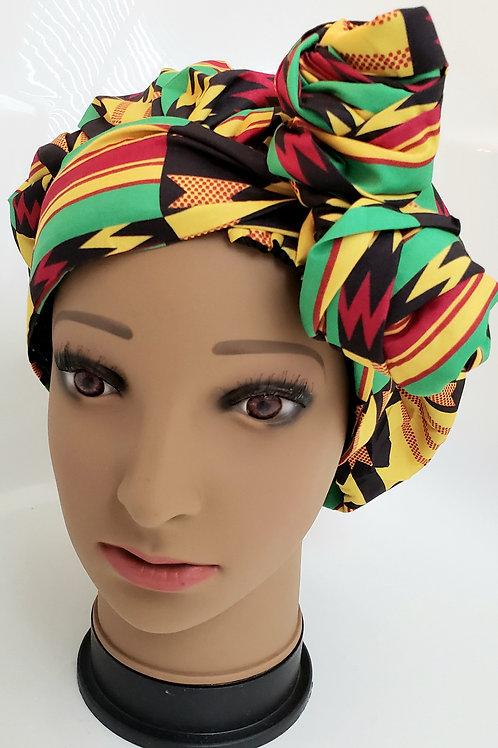 Zuma African Print Turban Bonnet Wrap - adult