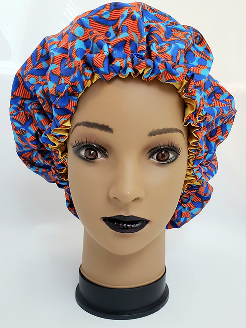 Blue Jay Adjustable (Adult) African Print Satin Bonnet