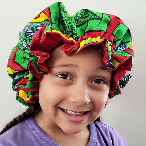 Shalewa African Print Girls Satin Bonnet