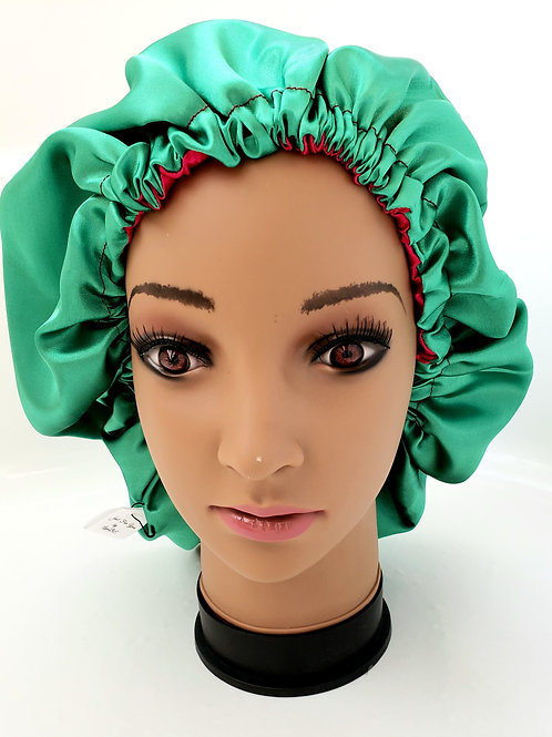 Green and pink reversible adult satin bonnet