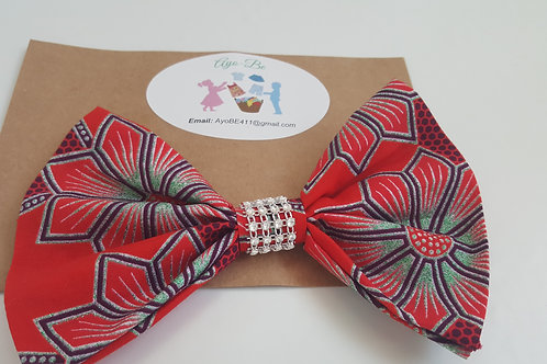 The Rocky African Print Sparkly Hair Bow