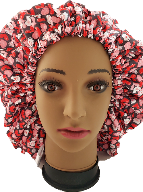 Valentine Be Mine Shower Bonnet - Jumbo Adult extra large xl reusable Shower cap