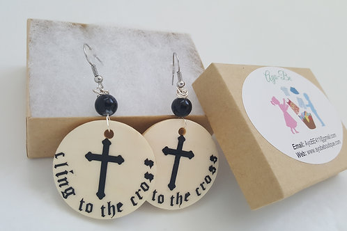 Cling to the Cross wood Earrings