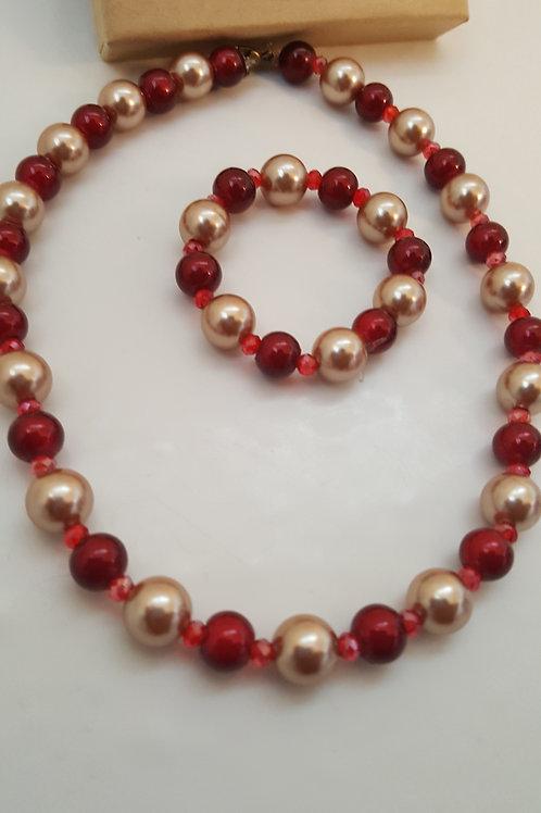 Nefertiti Red and Champagne Jewelry Set