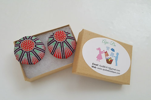 The Rocky African Print Button Earrings