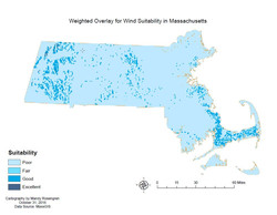 Weighted Overlay for Wind Suitability in