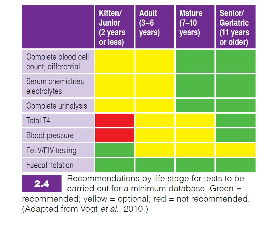 Light of Life Vet: Recommended minimum life stage tests for cats