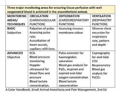 Light of Life Vet: Anaesthetic monitoring parameters