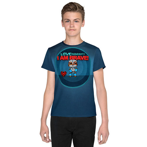 """""""I AM BRAVE"""" All-Over Print / Youth crew neck t-shirt"""