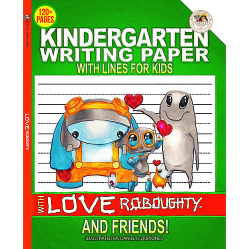 Kindergarten writing paper with lines for kids with Love Roboughty and friends!