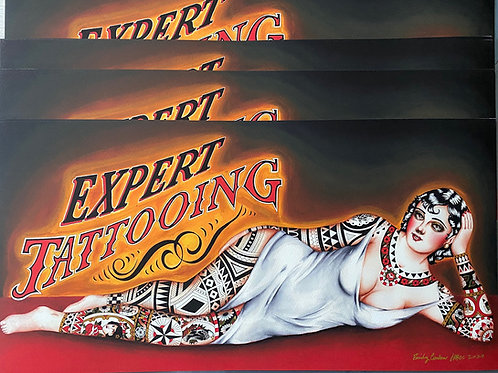 """10x20 in. """"Expert Tattooing"""" Lounging Lady Giclee Print"""