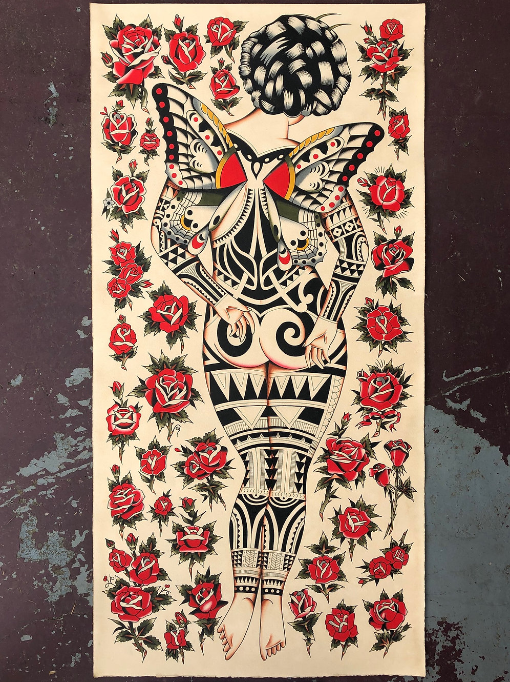20 x 40 in Tribal/Roses Giclee Print Limited