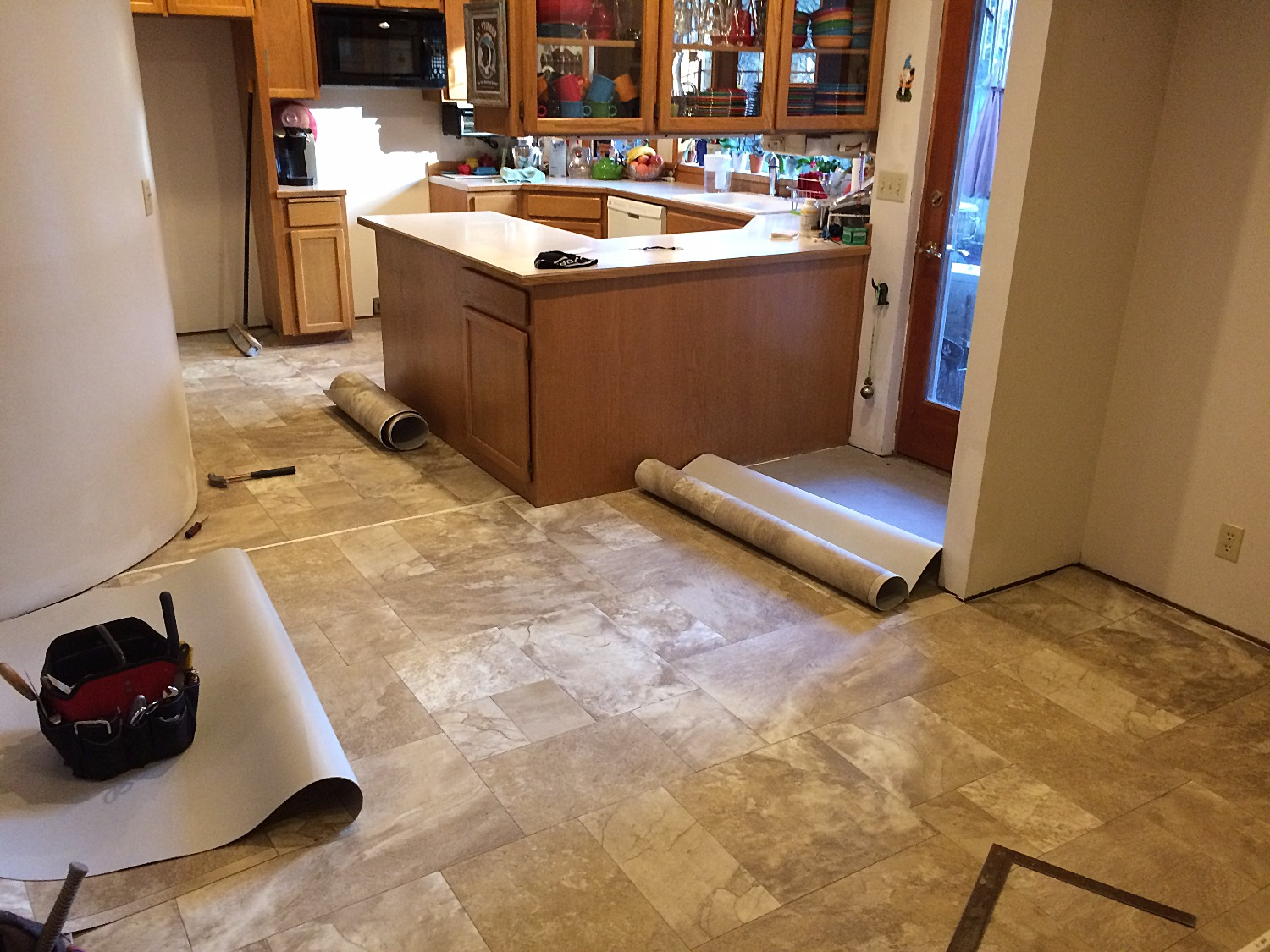 Vinyl floor kitchen install