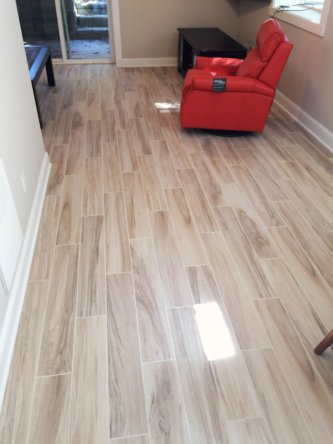 wood plank porcelain tile install