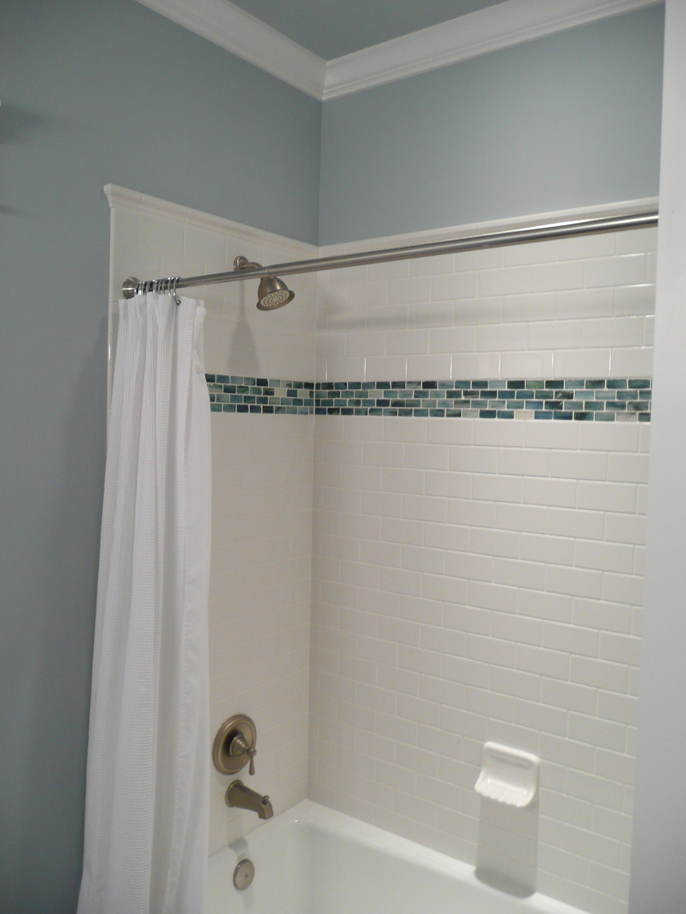 tile shower surround glass accent