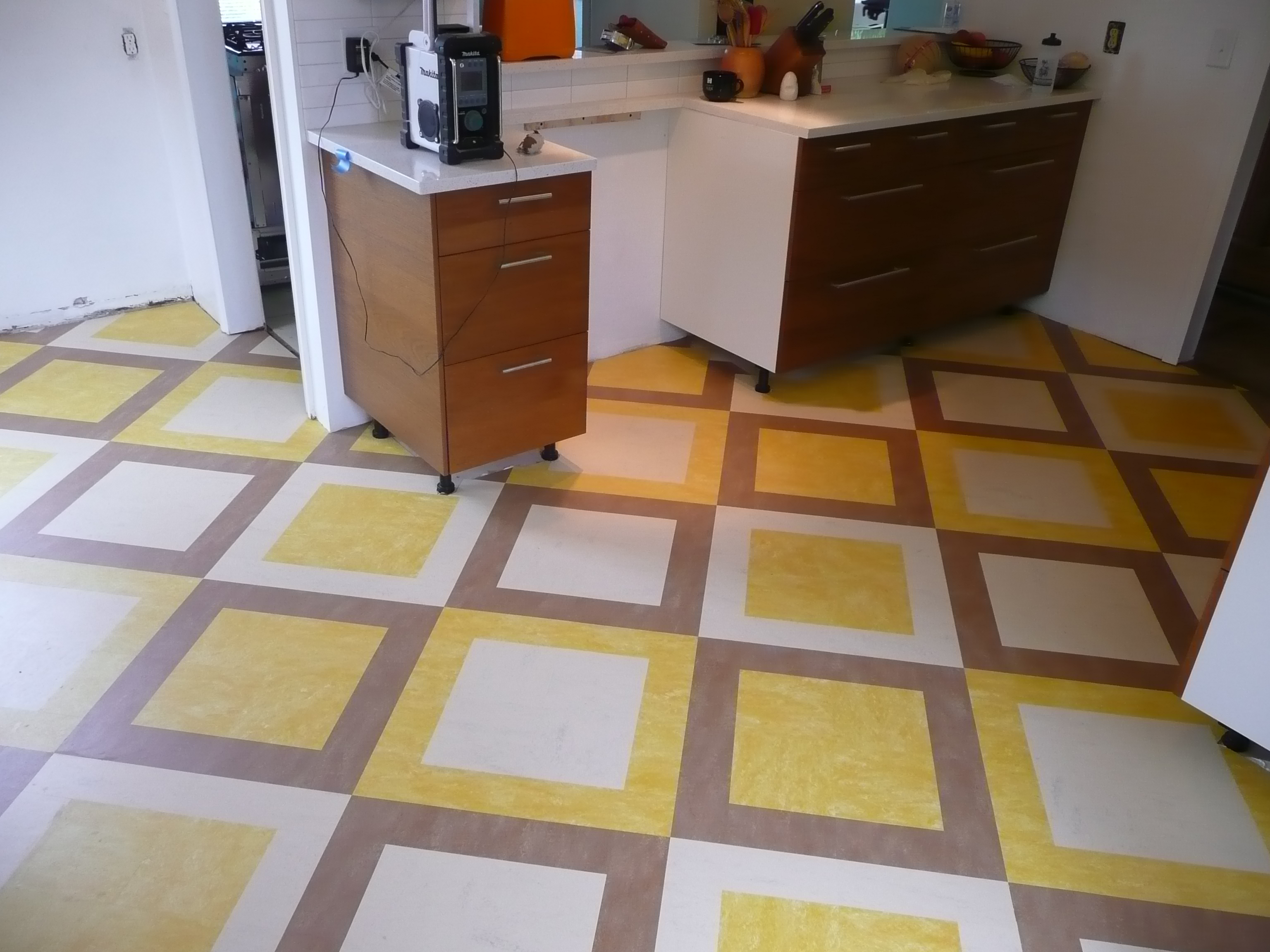 marmoleum floor kitchen custom tile