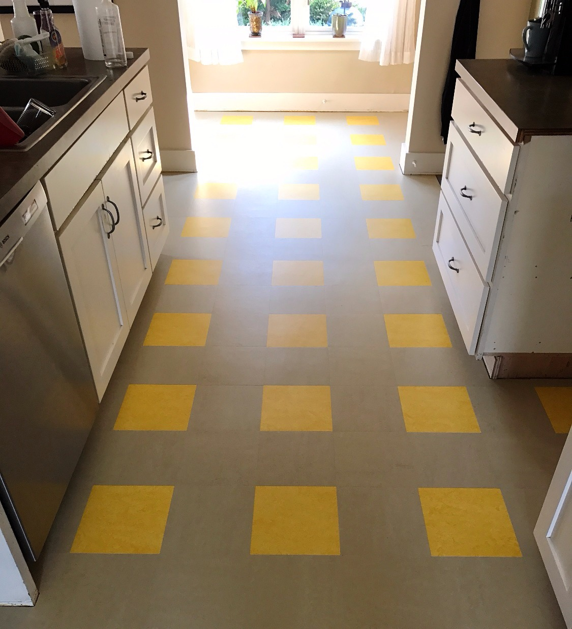 Marmoleum tile MCT kitchen floor