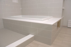 tile install built in tub surround