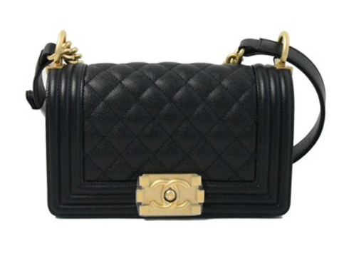 d710a4a0d08837 Chanel Caviar Leather Small Leboy Gold Hardware Black