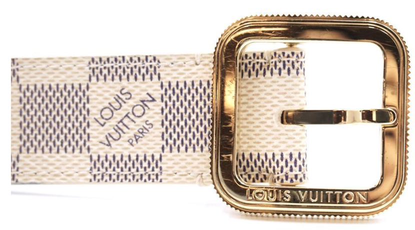 4ac491f2c5c7 Louis Vuitton Damier Azur Gold Buckle Leather Size 80 32 Belt