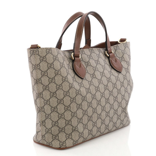 69c1ddf7d550 Gucci Convertible Soft Tote GG Coated Canvas Small Description