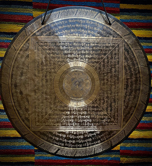 """24"""" (60cm) Nepalese Singing Gong -Wind (Feng) - Master Etching"""