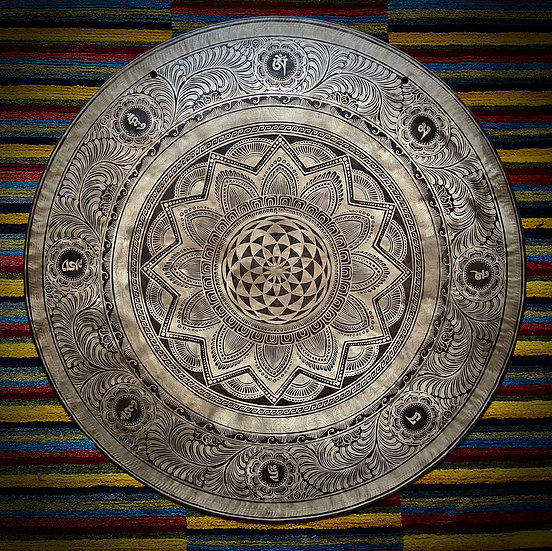 """32"""" (80cm) Nepalese Singing Gong - Wind (Feng) - Special Etching"""