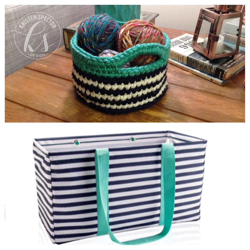 100 Crafty Days, Day 17 Navy Wave Crochet Basket