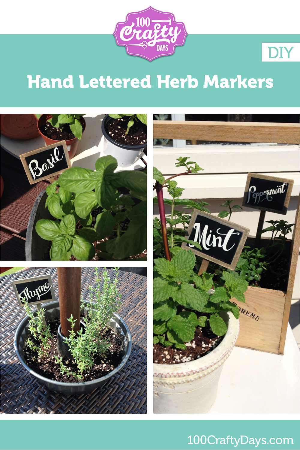 100 Crafty Days, Day 2 Hand Lettered Herb Markers