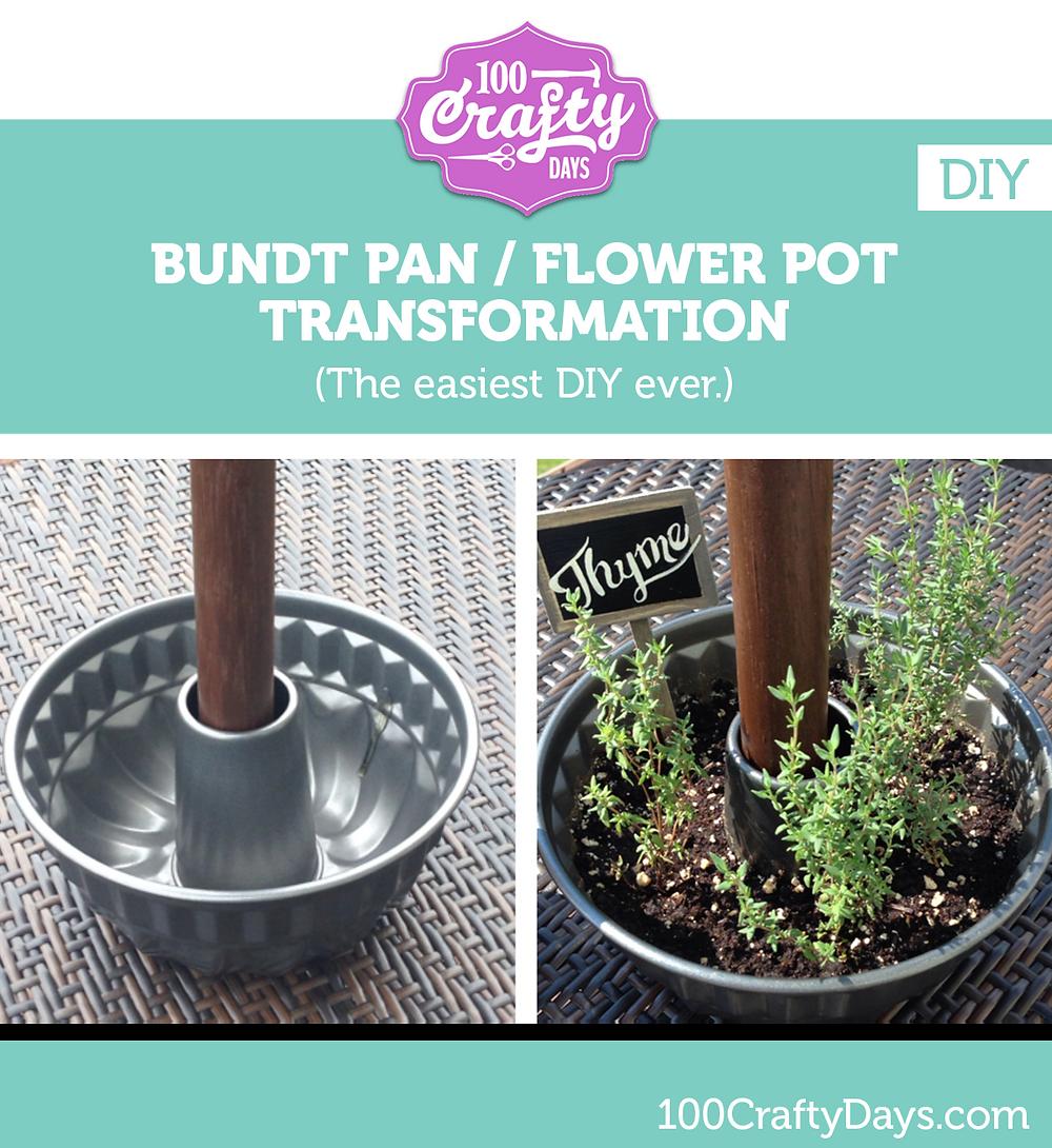100 Crafty Days, Day 1 DIY - Bundt Pan / Flower Pot Transformation