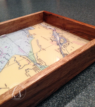 Resin Wood Tray + Nautical Chart