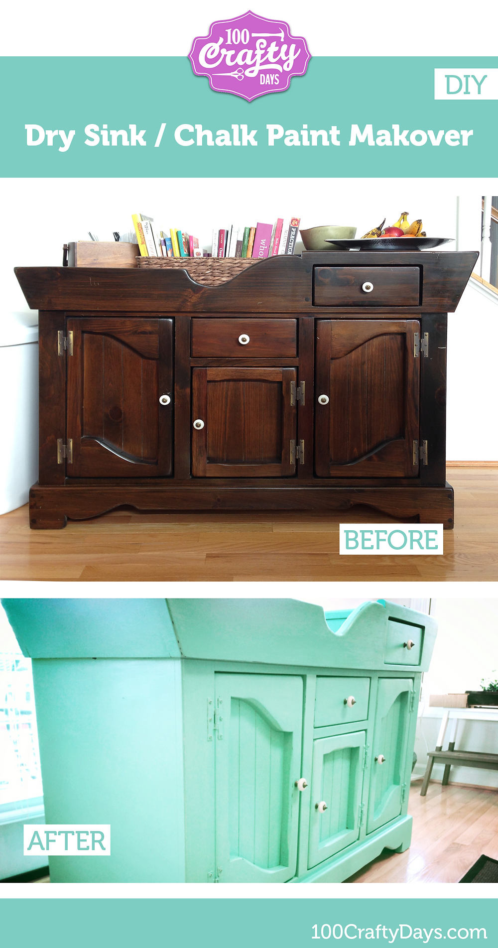 100 Crafty Days, Day 55 Dry Sink Makeover