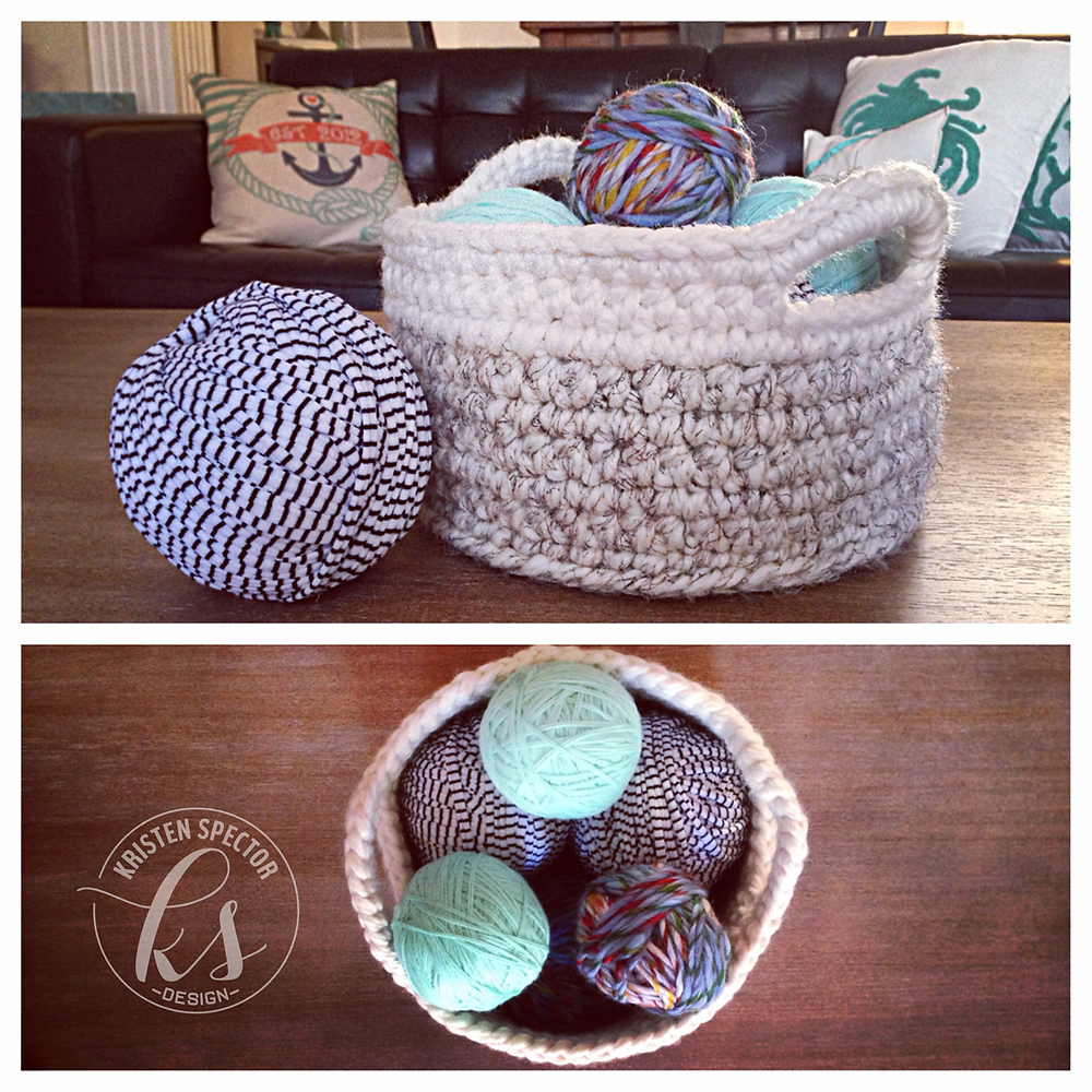 100 Crafty Days, Day 16 Color Blocked Crochet Basket