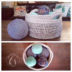 Color Blocked Crochet Basket