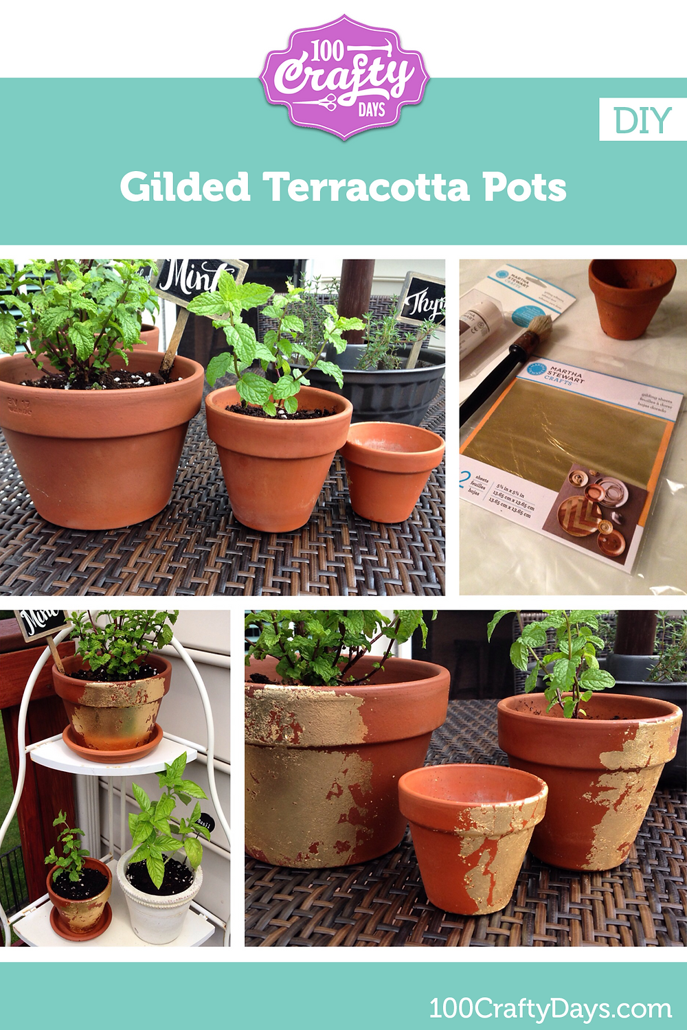 100 Crafty Days, Day 28 DIY Gilded Terracotta Pots