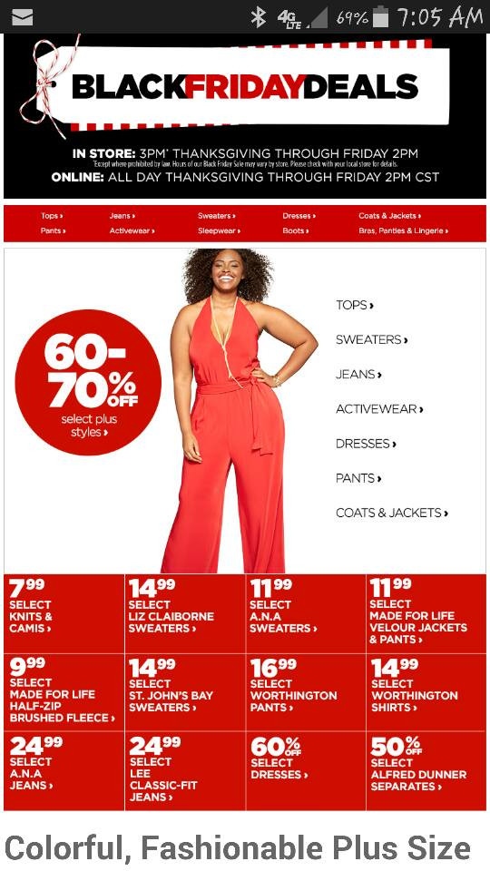 JC Penny's 2015 Black Friday Ad featuring Hadassah McGrew.