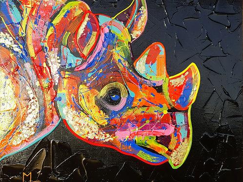 Rhino féroce 61x50 cm