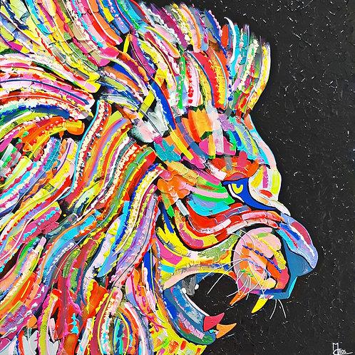 Quand le roi lion est en colère 100x100 cm
